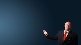 Businessman gesturing with copy space Royalty Free Stock Photo