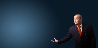 Businessman gesturing with copy space Royalty Free Stock Photography