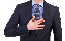 Businessman gesturing with hand. Stock Image
