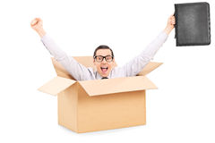 Businessman gesturing happiness inside a carton box. Isolated on white background Royalty Free Stock Photography