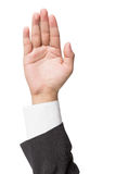 Businessman gesturing with his hand isolated on a white Royalty Free Stock Image