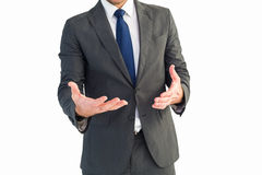 Businessman gesturing with his hands Stock Photo