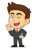 Businessman Gesturing Ok and Winking. Clipart Picture of a Male Businessman Cartoon Character Gesturing Ok and Winking Royalty Free Stock Photos