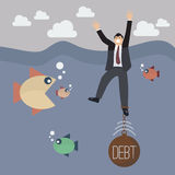Businessman get drowned because debt weight Stock Photos