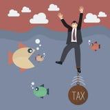 Businessman get drowned because tax weight Stock Photos