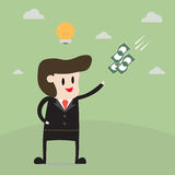 Businessman get an idea get money. Business concept cartoon Royalty Free Stock Image