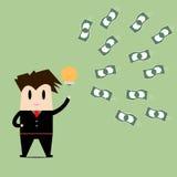 Businessman get an idea get money.Business concept cartoon Stock Photography