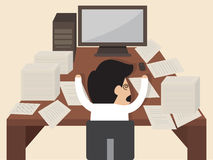 Businessman get knocked  during working. Vector cartoon of Businessman get knocked  during working Stock Photos