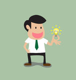 Businessman get a light bulb idea Royalty Free Stock Photography