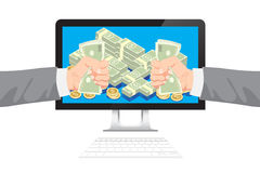 Businessman get money from online business holding dollar in hand Stock Photo
