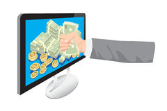 Businessman get money from online business holding dollar in hand  Royalty Free Stock Images
