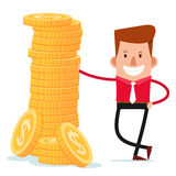 Businessman get a pose with stack of coins Royalty Free Stock Images