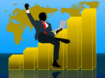 Businessman get profit with wold map background Royalty Free Stock Photo