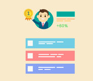 Businessman get reward in number one with profile user interface stock illustration