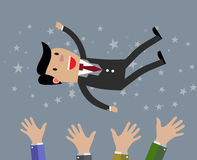 Businessman get thrown into the air Royalty Free Stock Photos