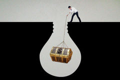 Businessman get treasure chest Royalty Free Stock Photography