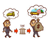 Businessman Gets A Bank Mortgage. Businessman Gets A Bank Loan On The Car. Mortgage. Clipart Royalty Free Stock Photo