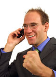 Businessman Gets Good News Royalty Free Stock Photos