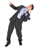 Businessman gets hit in face on white background Royalty Free Stock Images