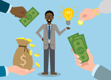Businessman gets money for the idea. Royalty Free Stock Image