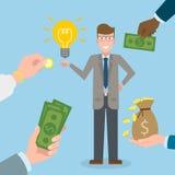 Businessman gets money for the idea. Stock Photos