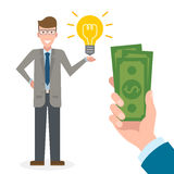 Businessman gets money for the idea. Royalty Free Stock Photography