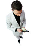 Businessman gets money from the wallet Royalty Free Stock Photography