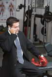 Businessman Getting Fighting Fit Stock Photo