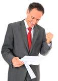 Businessman getting good news Stock Photo