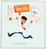 Businessman getting his free time vector illustration