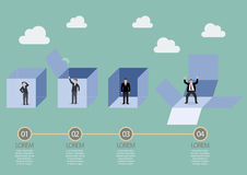 Businessman is getting out of the box infographic Royalty Free Stock Images
