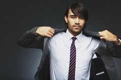 Businessman getting ready of work Stock Photos