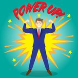 Businessman Getting Stronger By Power Up Royalty Free Stock Image