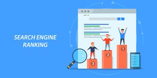 Flat design concept of search engine raking, seo, search optimization, digital marketing. stock illustration