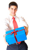 Businessman with gift Royalty Free Stock Photos
