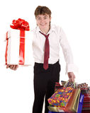 Businessman with gift box shopping. Stock Image