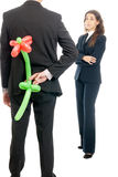 Businessman gift flower balloon to boss isolated. On white background Royalty Free Stock Images