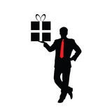 Businessman with a gift  Royalty Free Stock Photography