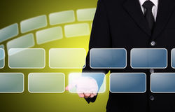 Businessman give blank button instant. For your idea stock photo