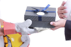 Businessman give gift for corruption something Stock Images