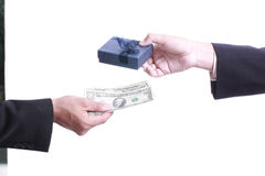 Businessman give gift for good relationship Royalty Free Stock Photo