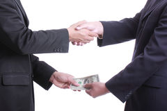 Businessman give money for corruption something Stock Image