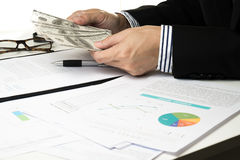 Businessman give money .sign contract.deal. Royalty Free Stock Photography