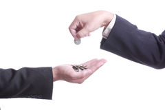 Businessman give money to partner. With white background Stock Photos