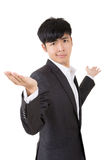 Unsure gesture. Businessman give you a gesture of unsure, closeup portrait on white background stock photography