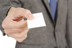 Business card. Businessman given his business card Stock Photo