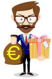 Businessman gives a gift bag with Euro Stock Photo