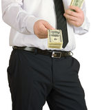 Businessman gives the money Royalty Free Stock Photography