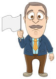 Businessman - Gives up. Vector illustration of a businessman gives up and holding white flag on his hand Stock Image