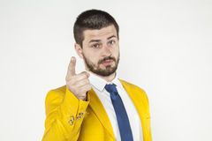 Businessman gives a warning, threatening finger Royalty Free Stock Image